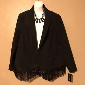 INC stylish black blazer w/tassel trim size 1X.NWT